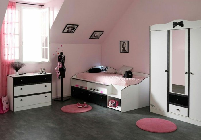 chambre-de-fille-ado-idée-déco-rose-et-noir