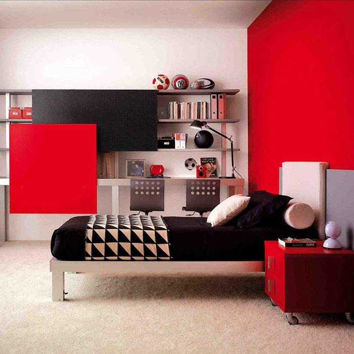 غرفة نوم للبنات او الذكور باللون الأسود و الأحمر