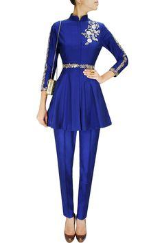 غاغراتشولي أزرق عصري من الحرير