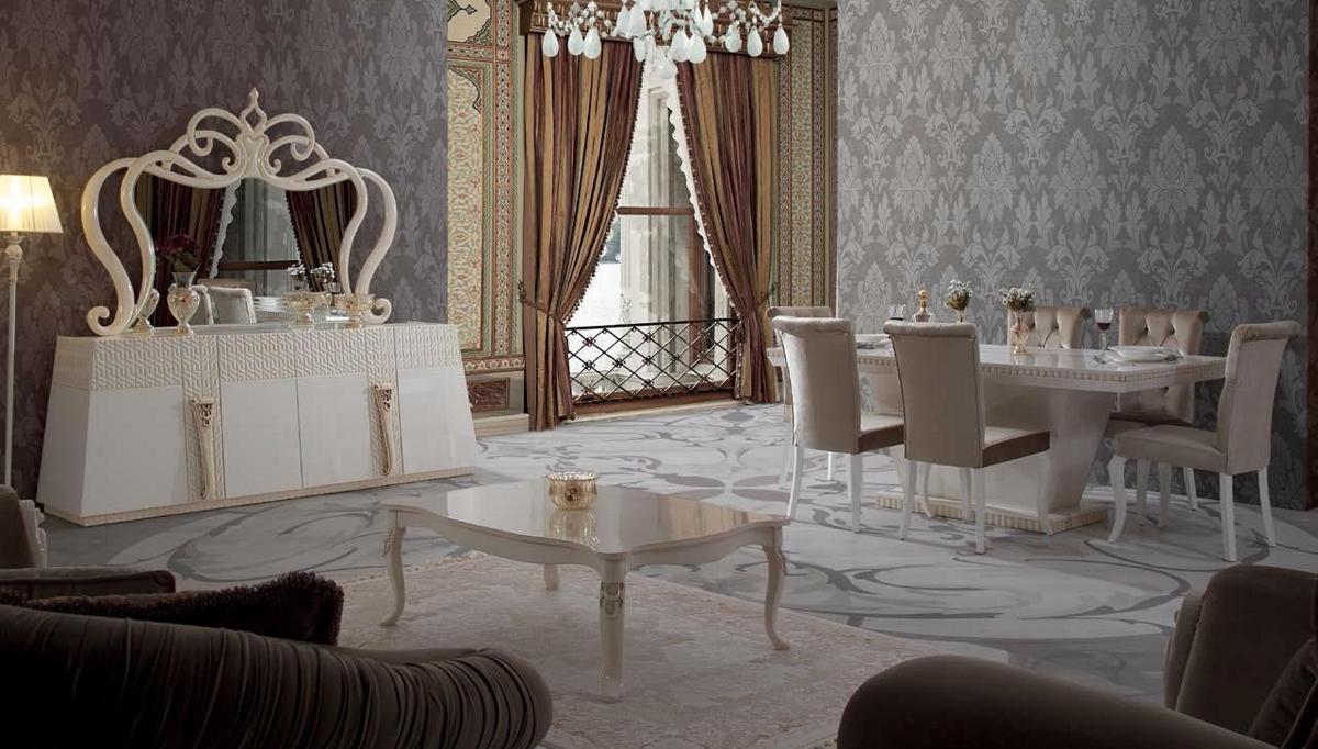 غرفة معيشة راقية باللون الأبيض