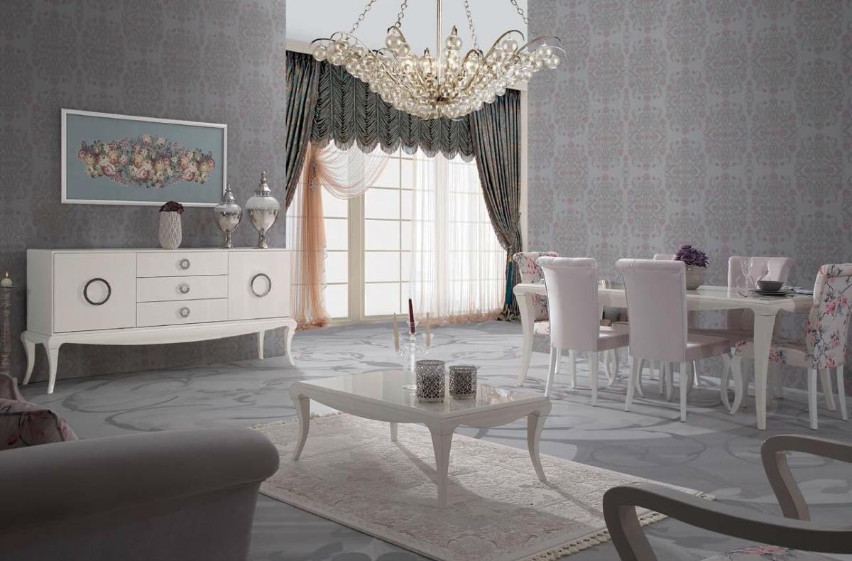 غرفة معيشة راقية باللون الأبيض و الرمادي