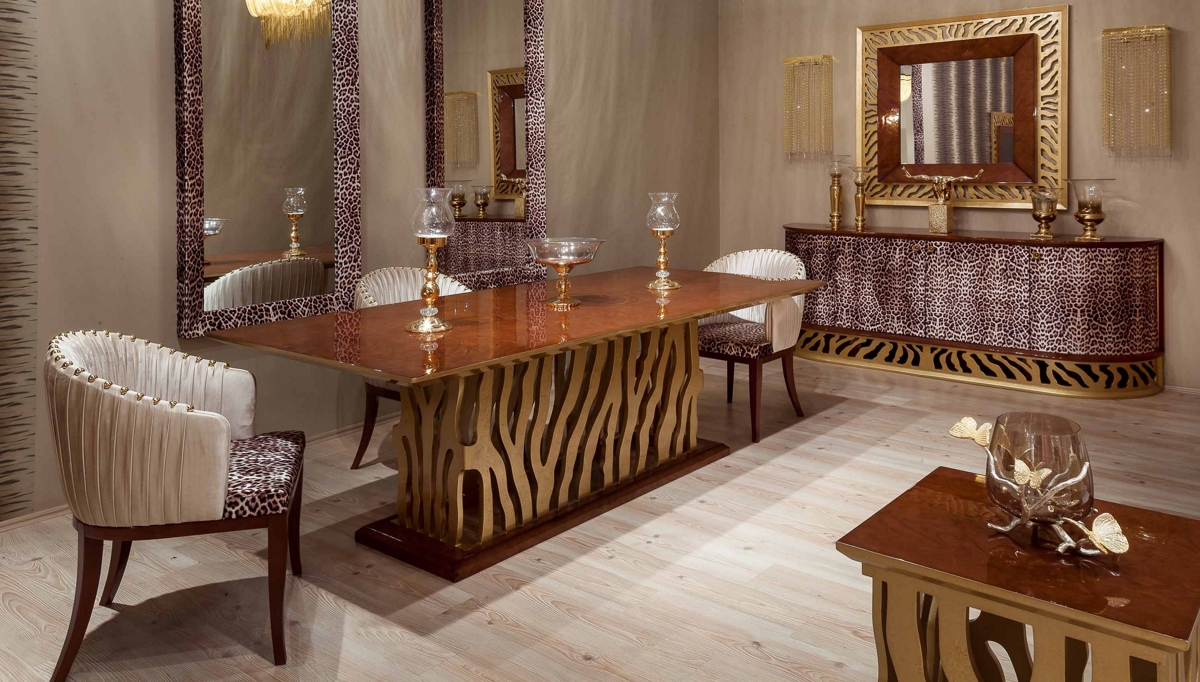 غرف معيشة كلاسيكية مزينة يألوان خطوط الفهد