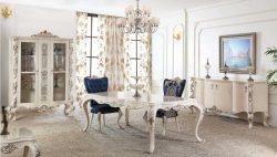 غرفة معيشة كلاسيكية باللون الأبيض و الأزرق